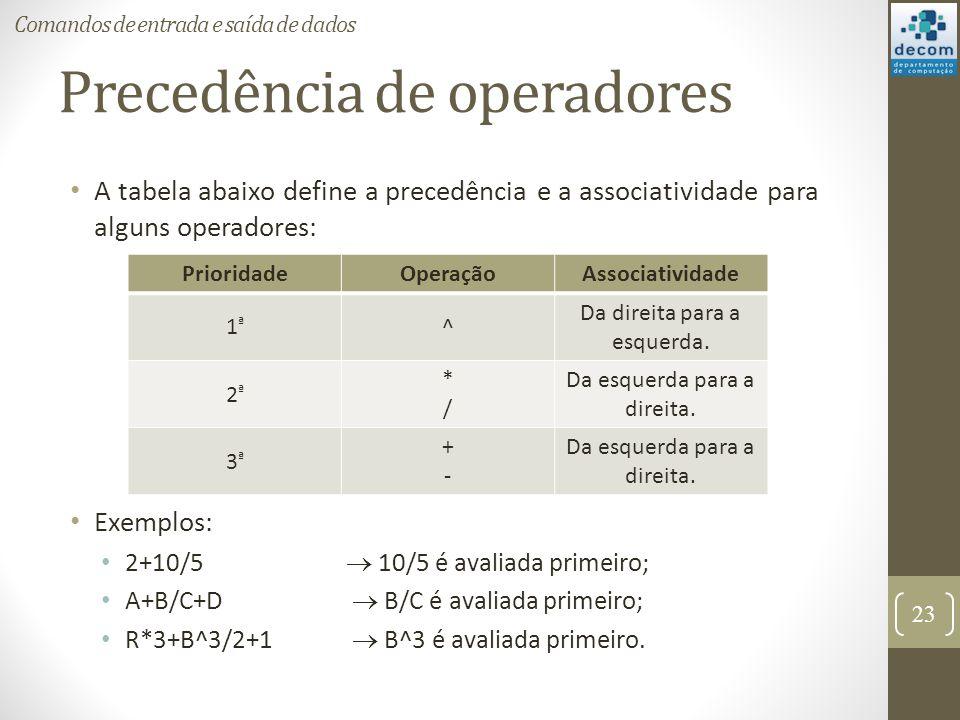 Precedência de operadores A tabela abaixo define a precedência e a associatividade para alguns operadores: Exemplos: 2+10/5 10/5 é avaliada primeiro;