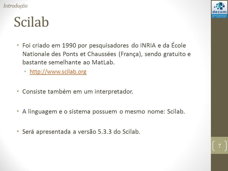 Scilab Foi criado em 1990 por pesquisadores do INRIA e da École Nationale des Ponts et Chaussées (França), sendo gratuito e bastante semelhante ao Mat