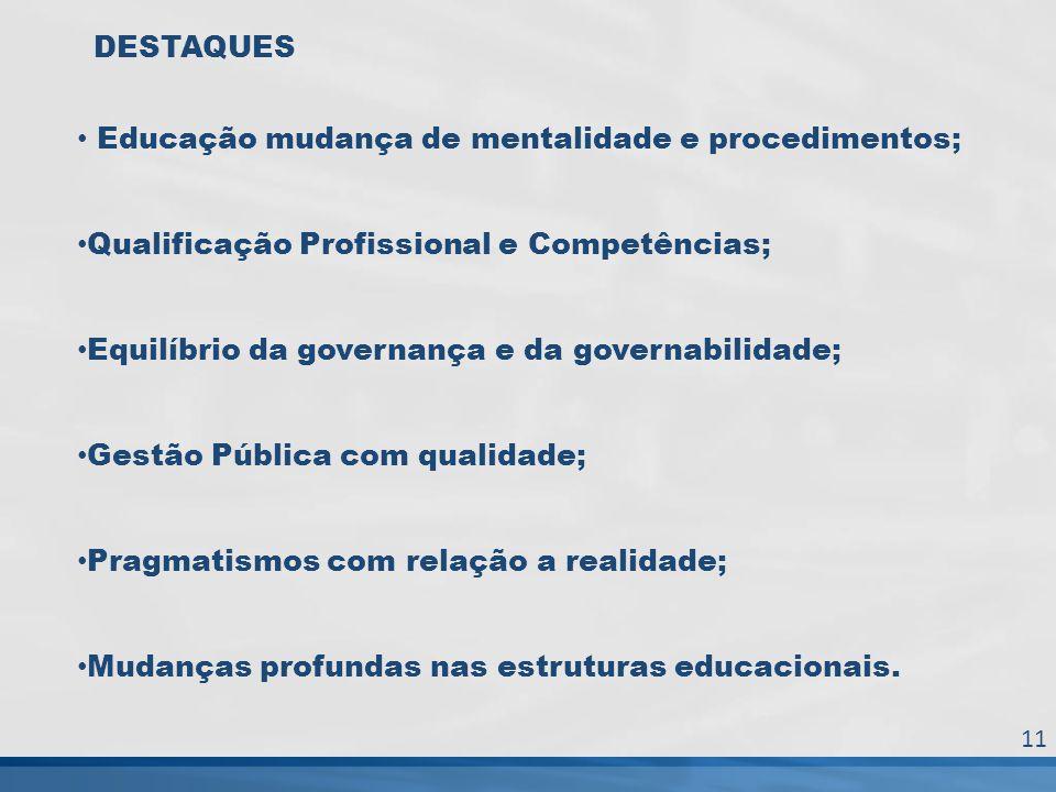 DESTAQUES Educação mudança de mentalidade e procedimentos; Qualificação Profissional e Competências; Equilíbrio da governança e da governabilidade; Ge