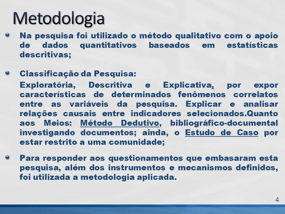 Na pesquisa foi utilizado o método qualitativo com o apoio de dados quantitativos baseados em estatísticas descritivas; Classificação da Pesquisa: Exp