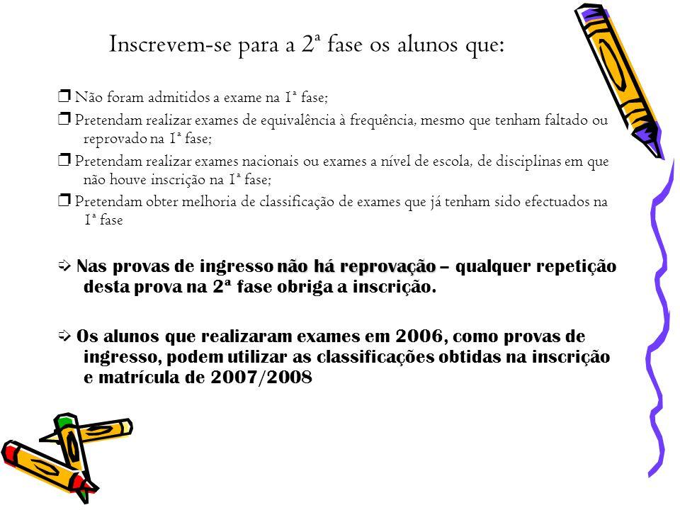 Inscrevem-se para a 2ª fase os alunos que: Não foram admitidos a exame na 1ª fase; Pretendam realizar exames de equivalência à frequência, mesmo que t