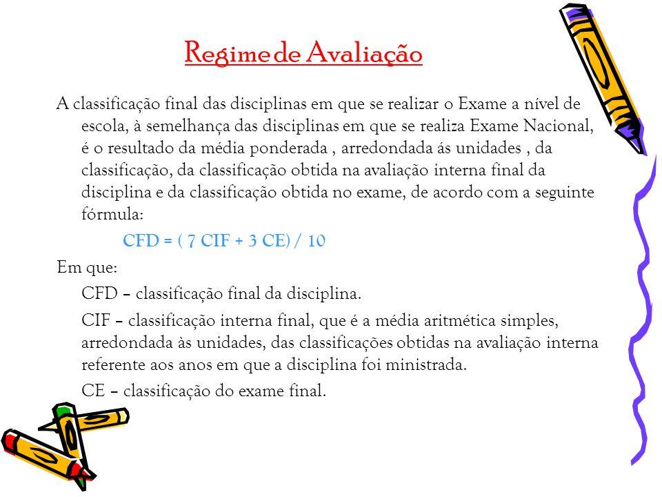 Regime de Avaliação A classificação final das disciplinas em que se realizar o Exame a nível de escola, à semelhança das disciplinas em que se realiza