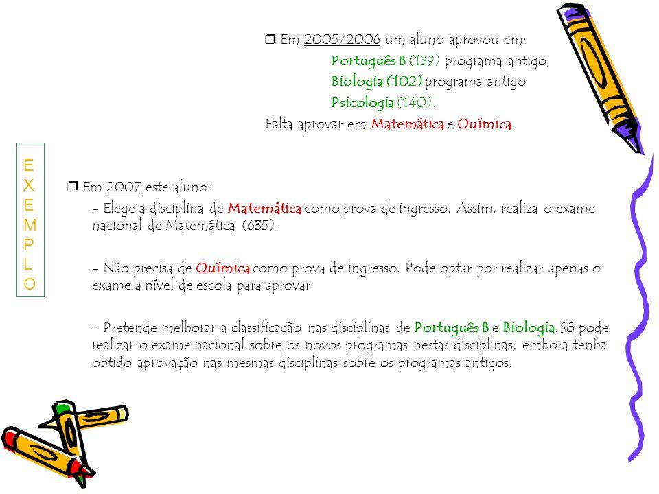 Em 2005/2006 um aluno aprovou em: Português B (139) programa antigo; Biologia (102) programa antigo Psicologia (140). Falta aprovar em Matemática e Qu