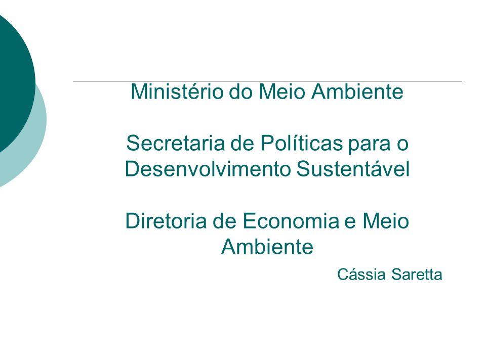 Ministério do Meio Ambiente Secretaria de Políticas para o Desenvolvimento Sustentável Diretoria de Economia e Meio Ambiente Cássia Saretta