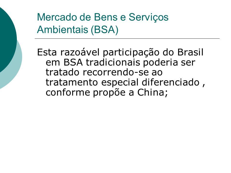 Mercado de Bens e Serviços Ambientais (BSA) Esta razoável participação do Brasil em BSA tradicionais poderia ser tratado recorrendo-se ao tratamento especial diferenciado, conforme propõe a China;