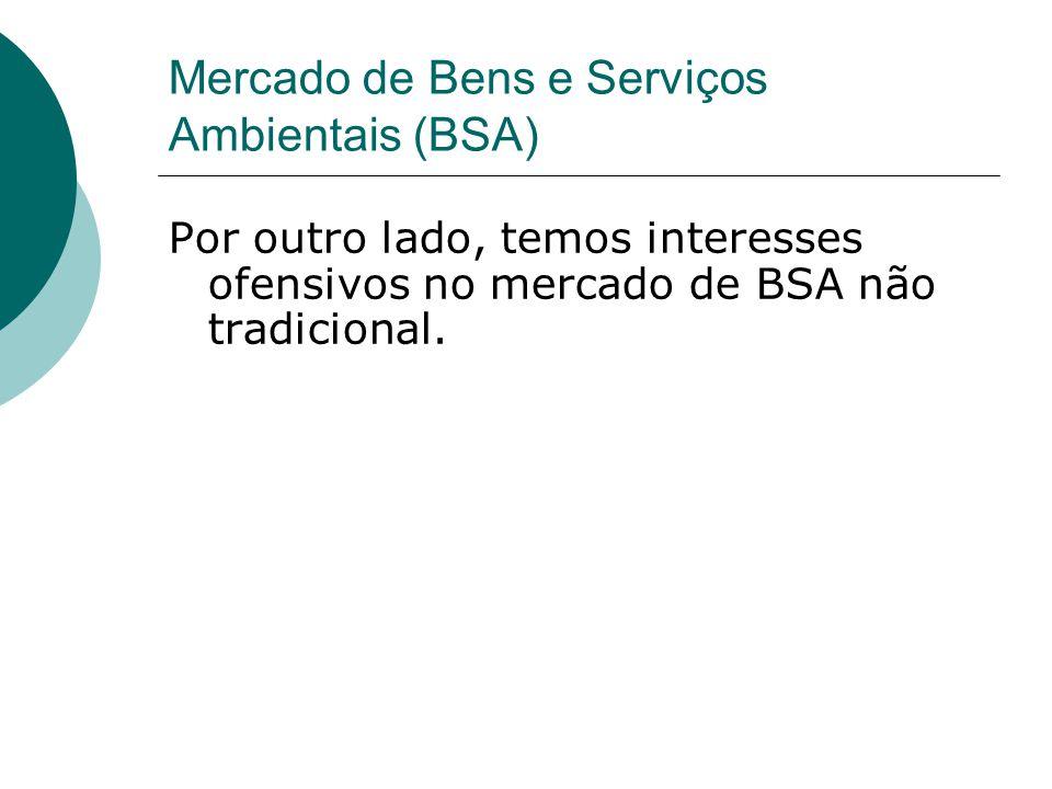 Mercado de Bens e Serviços Ambientais (BSA) Por outro lado, temos interesses ofensivos no mercado de BSA não tradicional.