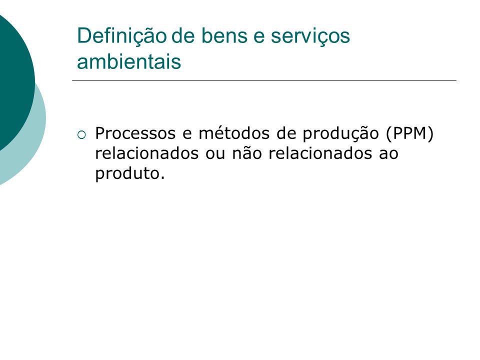 Definição de bens e serviços ambientais Processos e métodos de produção (PPM) relacionados ou não relacionados ao produto.