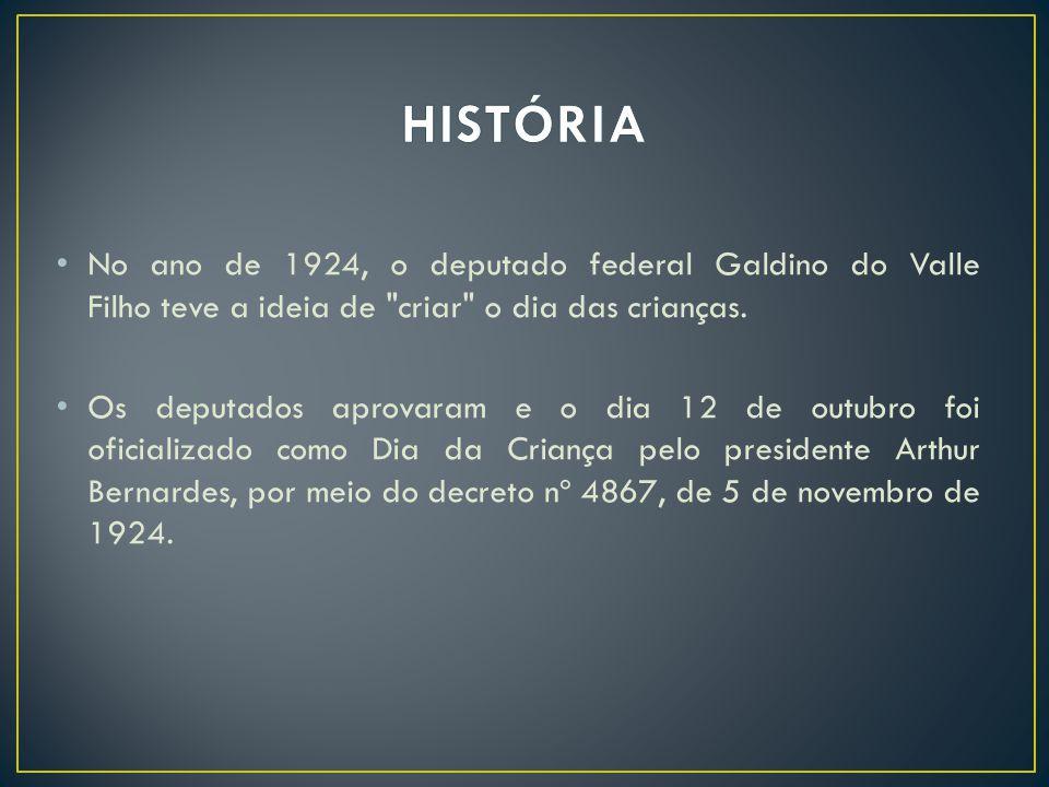 No ano de 1924, o deputado federal Galdino do Valle Filho teve a ideia de