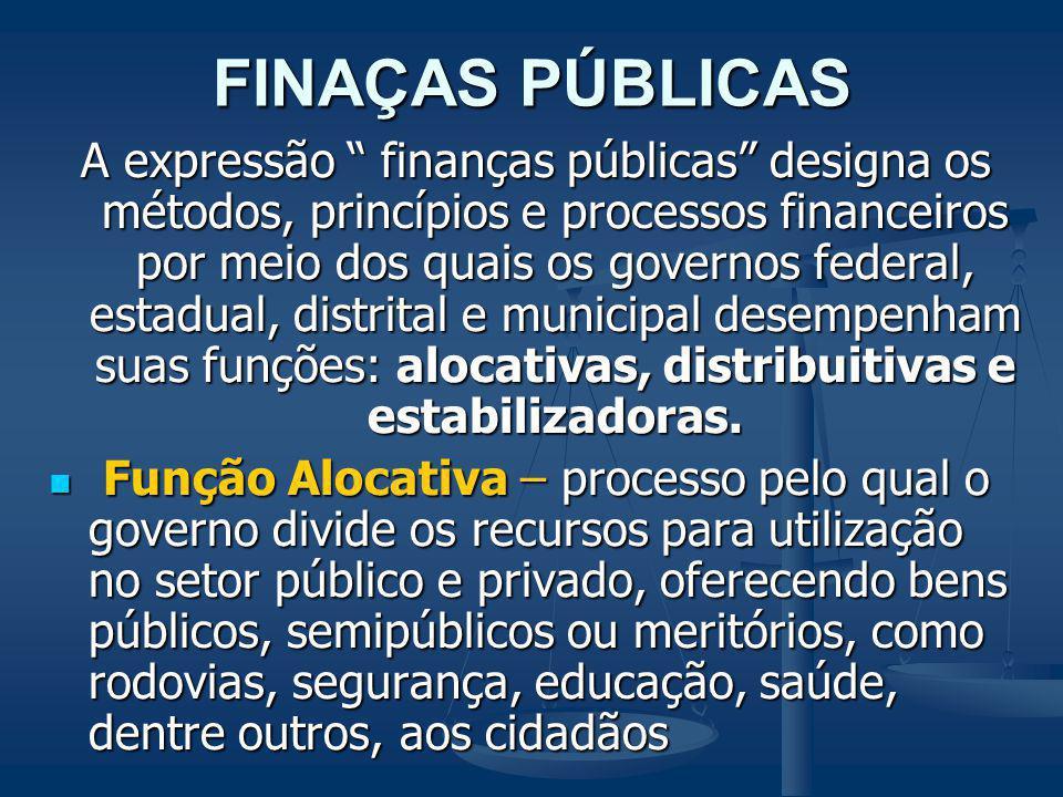 FINAÇAS PÚBLICAS A expressão finanças públicas designa os métodos, princípios e processos financeiros por meio dos quais os governos federal, estadual