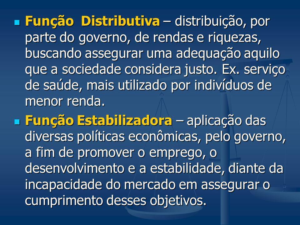 Função Distributiva – distribuição, por parte do governo, de rendas e riquezas, buscando assegurar uma adequação aquilo que a sociedade considera just