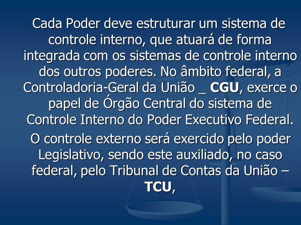 Cada Poder deve estruturar um sistema de controle interno, que atuará de forma integrada com os sistemas de controle interno dos outros poderes. No âm