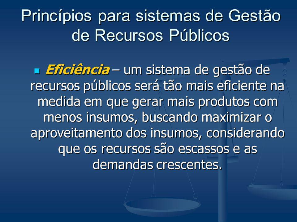 Princípios para sistemas de Gestão de Recursos Públicos Eficiência – um sistema de gestão de recursos públicos será tão mais eficiente na medida em qu