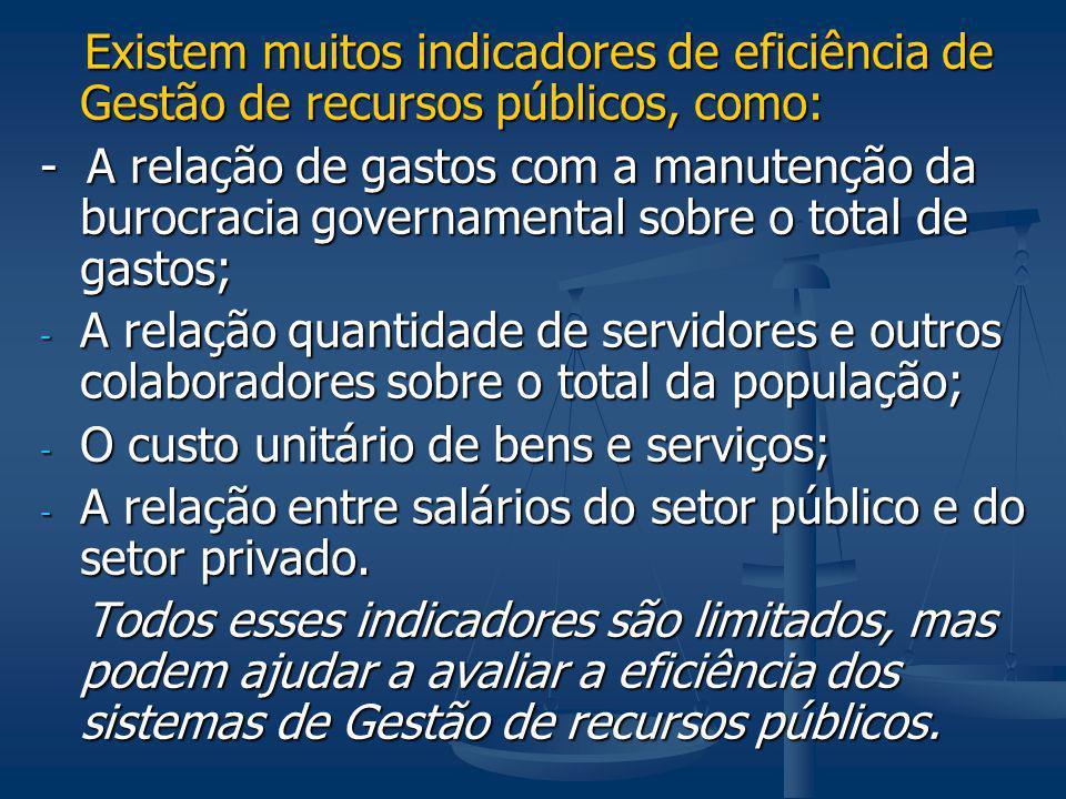 Existem muitos indicadores de eficiência de Gestão de recursos públicos, como: Existem muitos indicadores de eficiência de Gestão de recursos públicos
