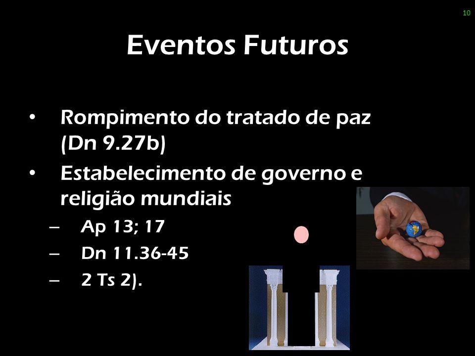 Eventos Futuros Rompimento do tratado de paz (Dn 9.27b) Estabelecimento de governo e religião mundiais – Ap 13; 17 – Dn 11.36-45 – 2 Ts 2).