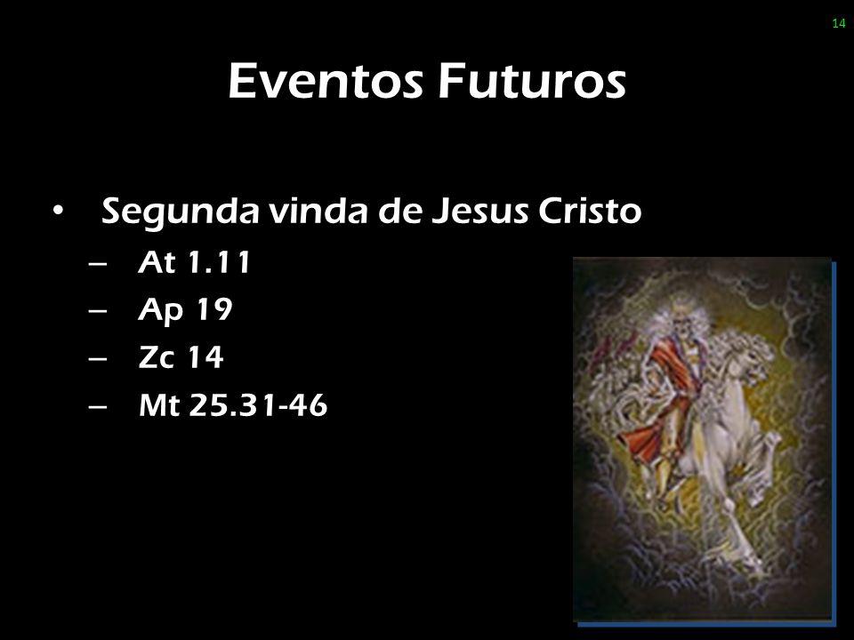 Eventos Futuros Segunda vinda de Jesus Cristo – At 1.11 – Ap 19 – Zc 14 – Mt 25.31-46 14