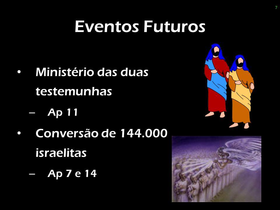 Eventos Futuros Ministério das duas testemunhas – Ap 11 Conversão de 144.000 israelitas – Ap 7 e 14 7