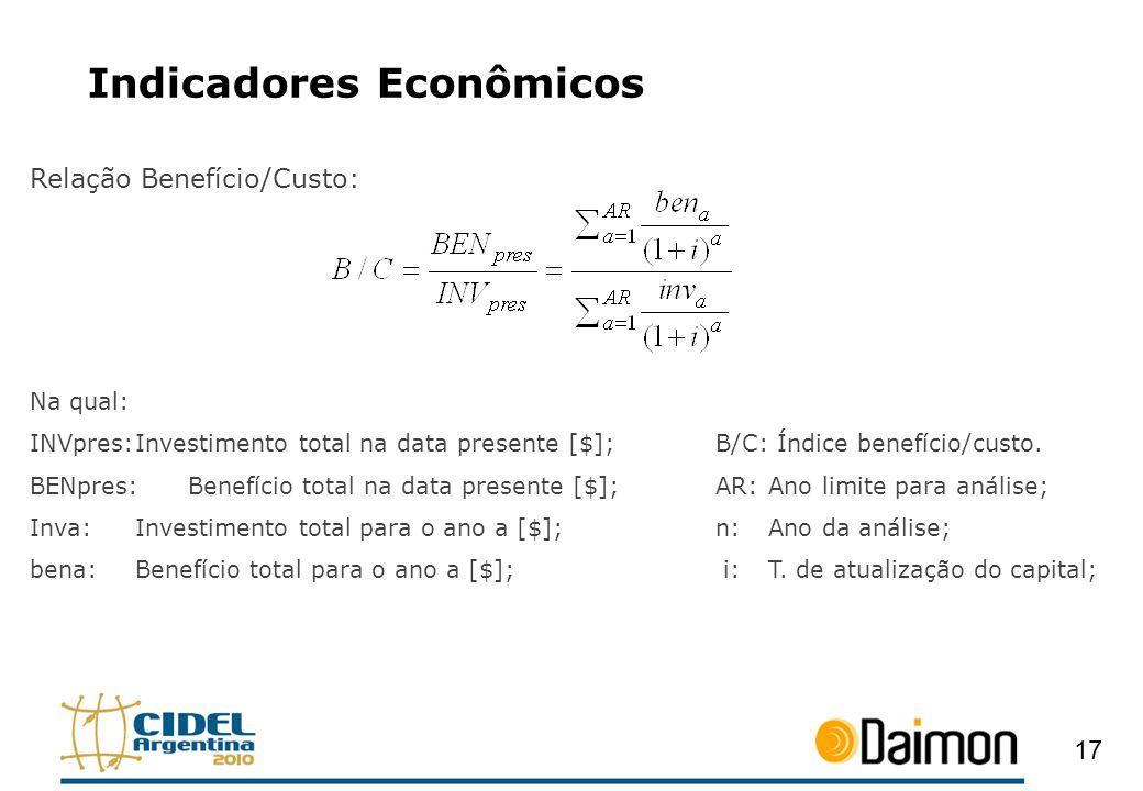 Indicadores Econômicos Relação Benefício/Custo: Na qual: INVpres:Investimento total na data presente [$];B/C: Índice benefício/custo. BENpres:Benefíci