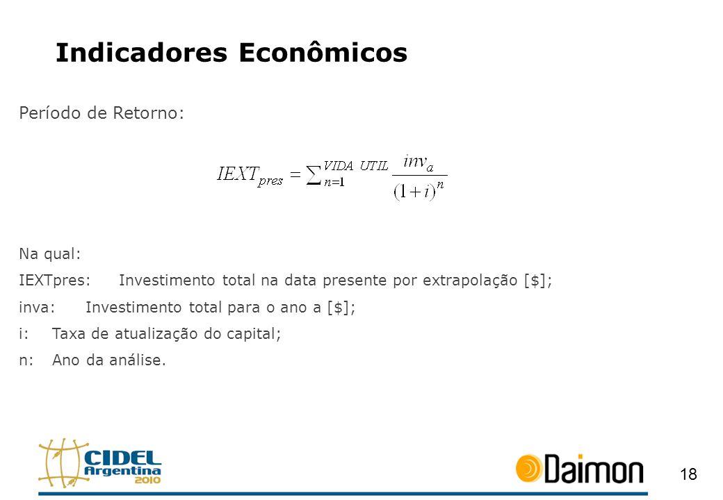 Indicadores Econômicos Período de Retorno: Na qual: IEXTpres:Investimento total na data presente por extrapolação [$]; inva:Investimento total para o
