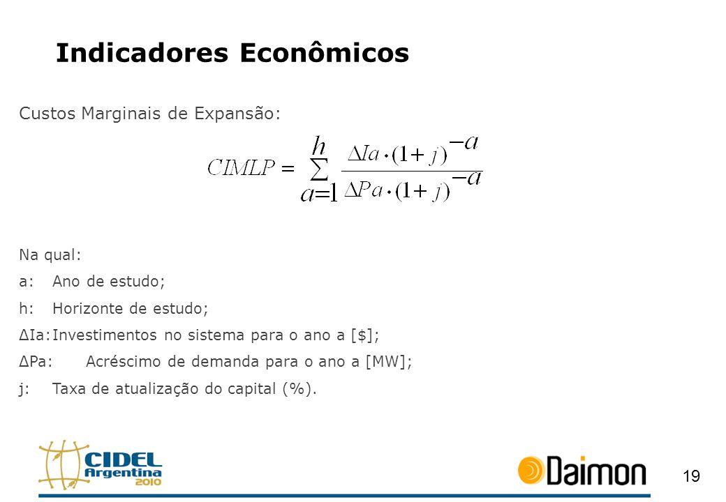 Indicadores Econômicos Custos Marginais de Expansão: Na qual: a:Ano de estudo; h:Horizonte de estudo; ΔIa:Investimentos no sistema para o ano a [$]; Δ