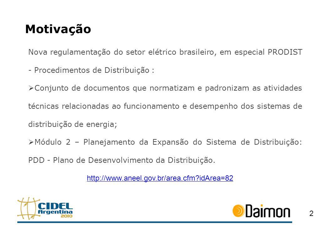 Motivação Nova regulamentação do setor elétrico brasileiro, em especial PRODIST - Procedimentos de Distribuição : Conjunto de documentos que normatiza