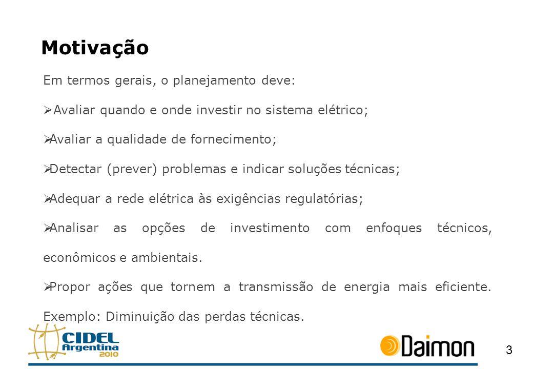 Motivação Em termos gerais, o planejamento deve: Avaliar quando e onde investir no sistema elétrico; Avaliar a qualidade de fornecimento; Detectar (pr