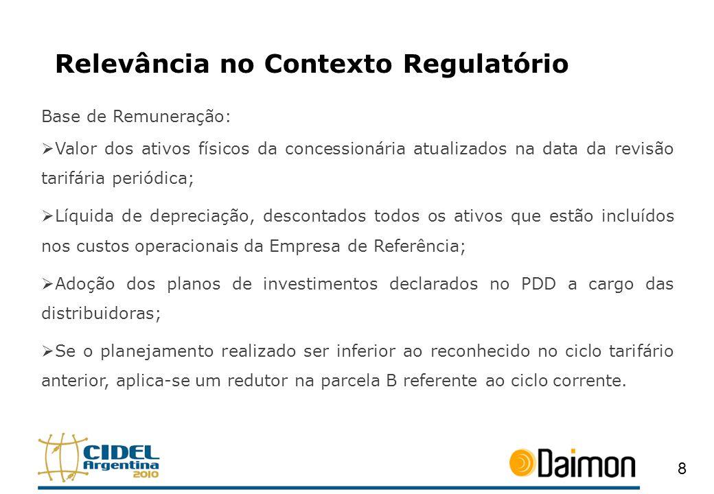 Relevância no Contexto Regulatório Base de Remuneração: Valor dos ativos físicos da concessionária atualizados na data da revisão tarifária periódica;