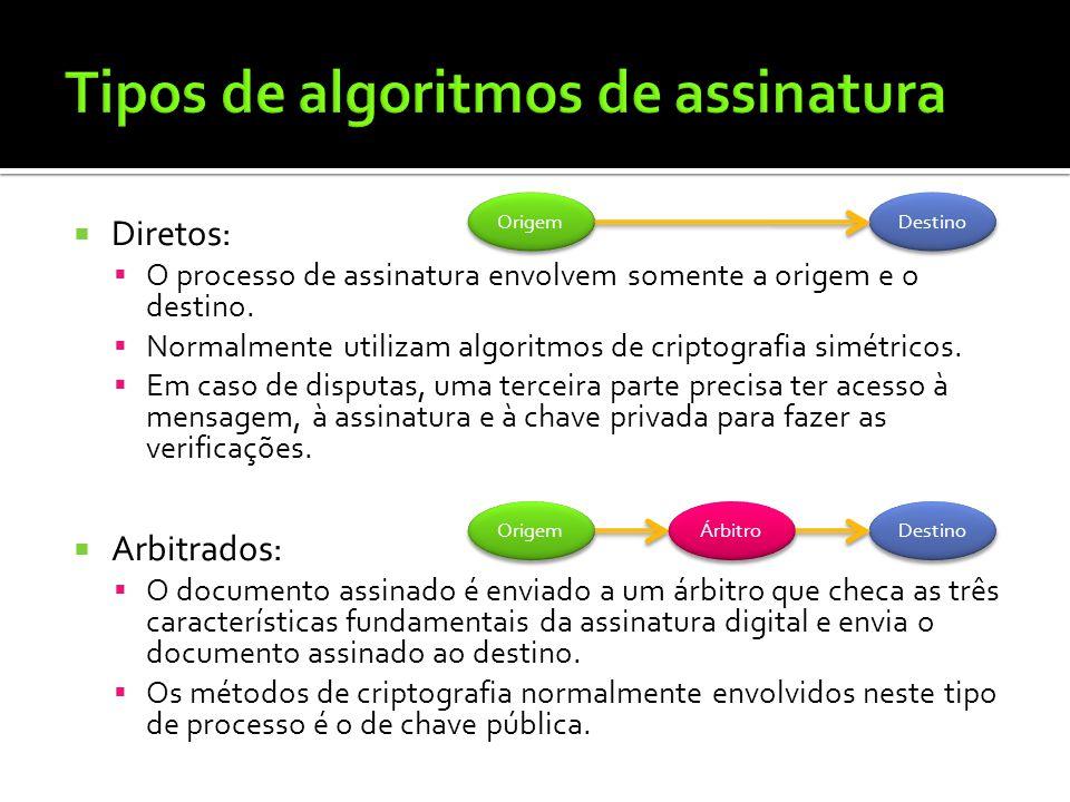 Diretos: O processo de assinatura envolvem somente a origem e o destino. Normalmente utilizam algoritmos de criptografia simétricos. Em caso de disput