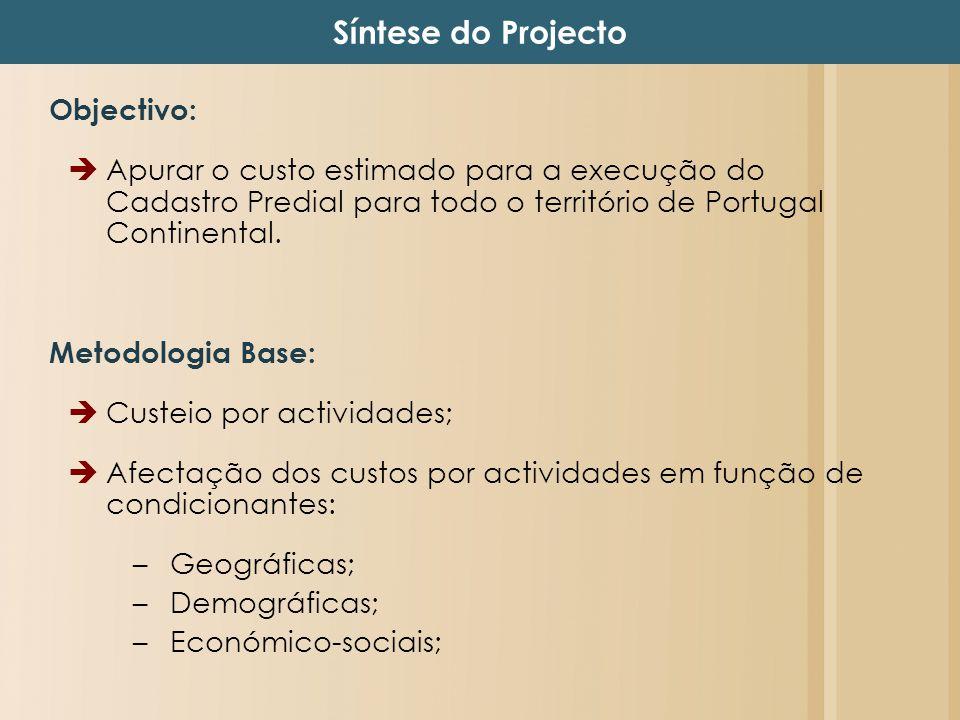 Objectivo: Apurar o custo estimado para a execução do Cadastro Predial para todo o território de Portugal Continental. Metodologia Base: Custeio por a
