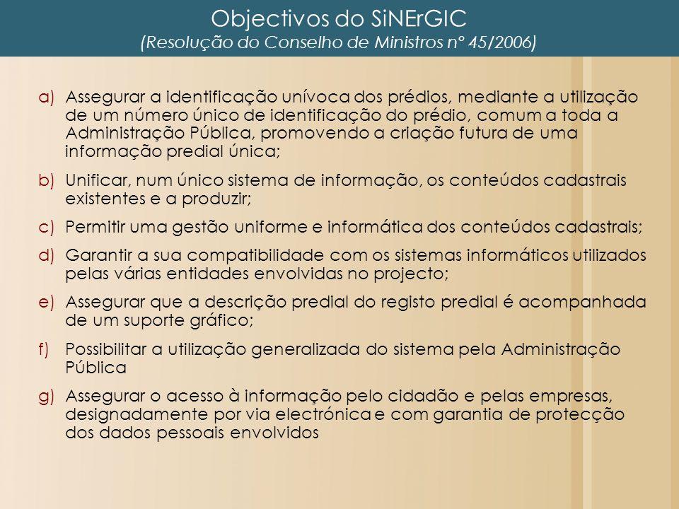 Objectivos do SiNErGIC (Resolução do Conselho de Ministros nº 45/2006) a)Assegurar a identificação unívoca dos prédios, mediante a utilização de um nú