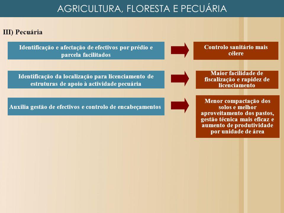 AGRICULTURA, FLORESTA E PECUÁRIA III) Pecuária Identificação e afectação de efectivos por prédio e parcela facilitados Menor compactação dos solos e m