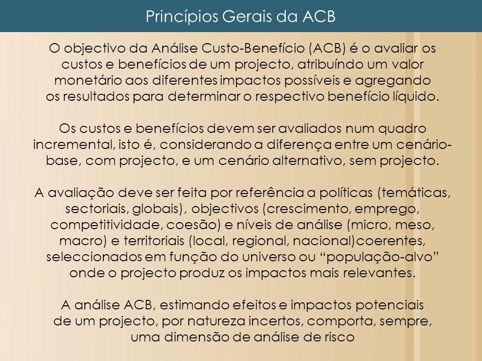 Princípios Gerais da ACB O objectivo da Análise Custo-Benefício (ACB) é o avaliar os custos e benefícios de um projecto, atribuíndo um valor monetário