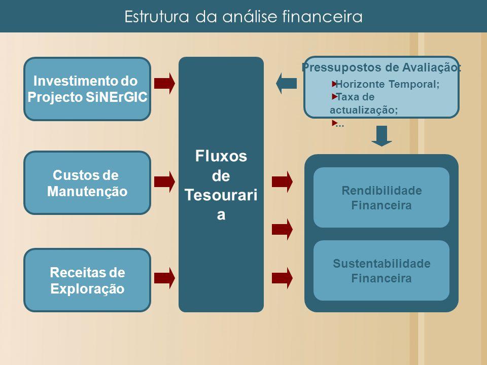 Investimento do Projecto SiNErGIC Custos de Manutenção Receitas de Exploração Fluxos de Tesourari a Rendibilidade Financeira Sustentabilidade Financei