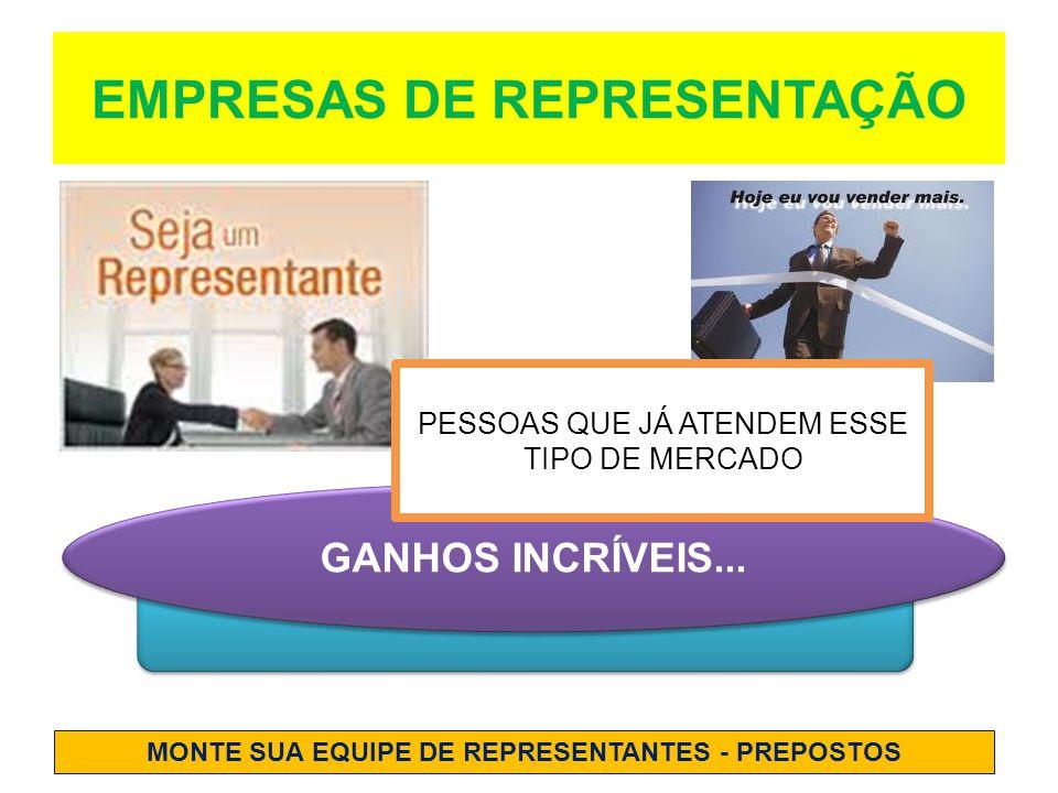 EMPRESAS DE REPRESENTAÇÃO GANHOS INCRÍVEIS...