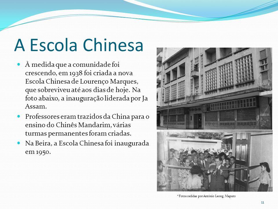 A Escola Chinesa À medida que a comunidade foi crescendo, em 1938 foi criada a nova Escola Chinesa de Lourenço Marques, que sobreviveu até aos dias de