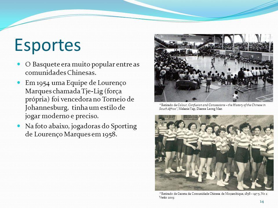Esportes O Basquete era muito popular entre as comunidades Chinesas. Em 1954 uma Equipe de Lourenço Marques chamada Tje-Lig (força própria) foi venced