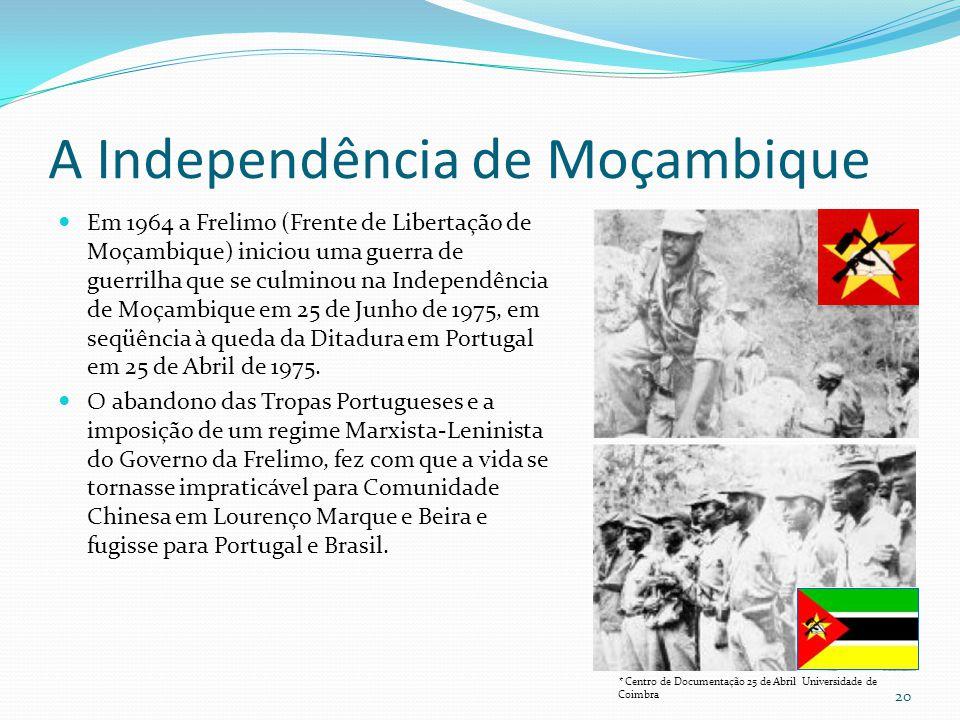 A Independência de Moçambique Em 1964 a Frelimo (Frente de Libertação de Moçambique) iniciou uma guerra de guerrilha que se culminou na Independência