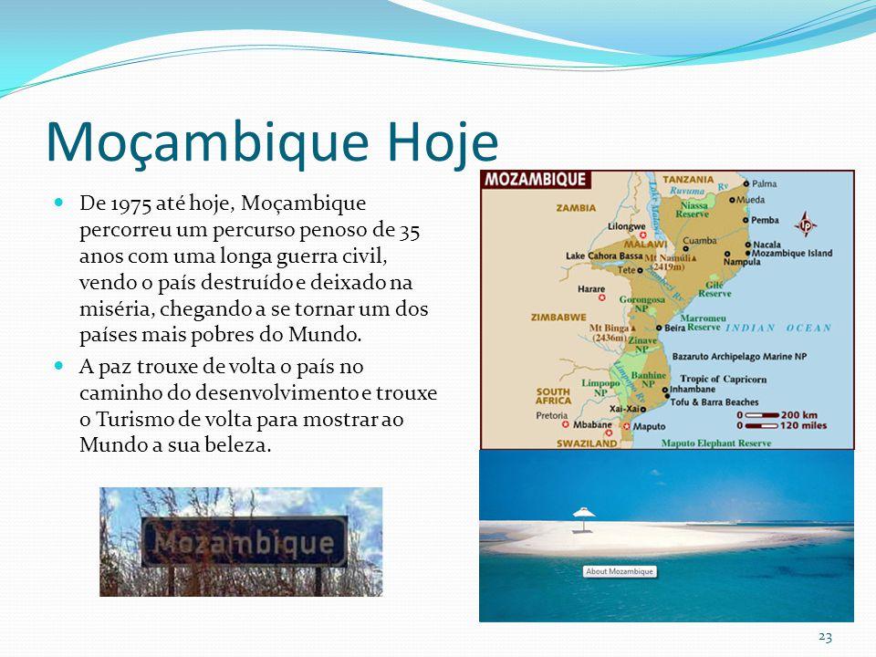Moçambique Hoje De 1975 até hoje, Moçambique percorreu um percurso penoso de 35 anos com uma longa guerra civil, vendo o país destruído e deixado na m