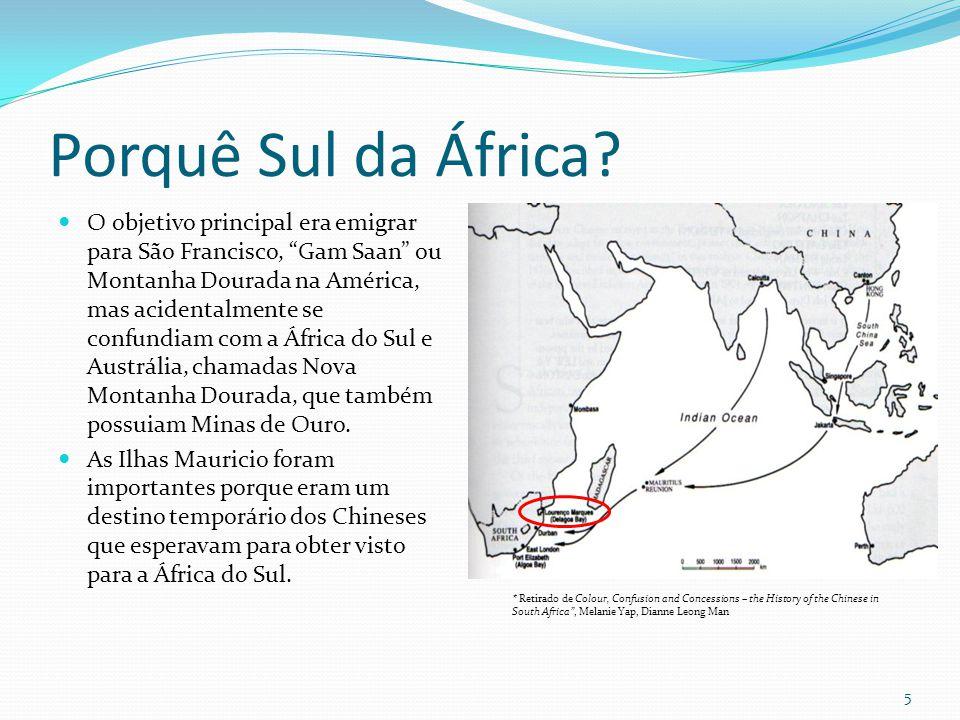 Porquê Sul da África? O objetivo principal era emigrar para São Francisco, Gam Saan ou Montanha Dourada na América, mas acidentalmente se confundiam c