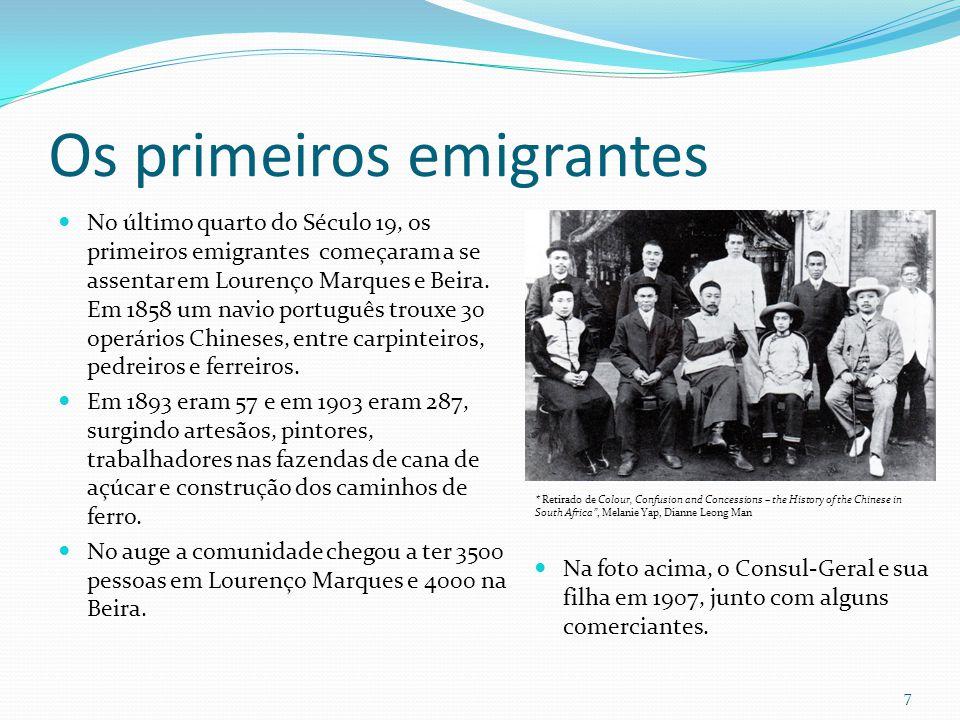Os primeiros emigrantes No último quarto do Século 19, os primeiros emigrantes começaram a se assentar em Lourenço Marques e Beira. Em 1858 um navio p