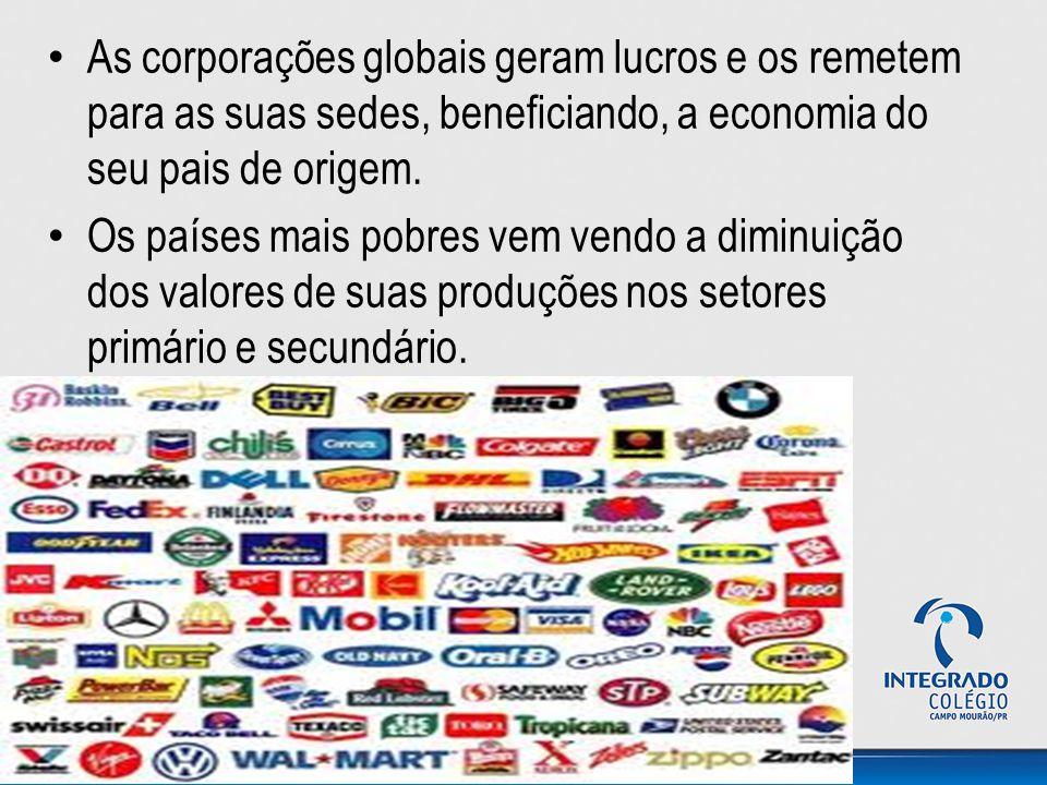 As corporações globais geram lucros e os remetem para as suas sedes, beneficiando, a economia do seu pais de origem. Os países mais pobres vem vendo a