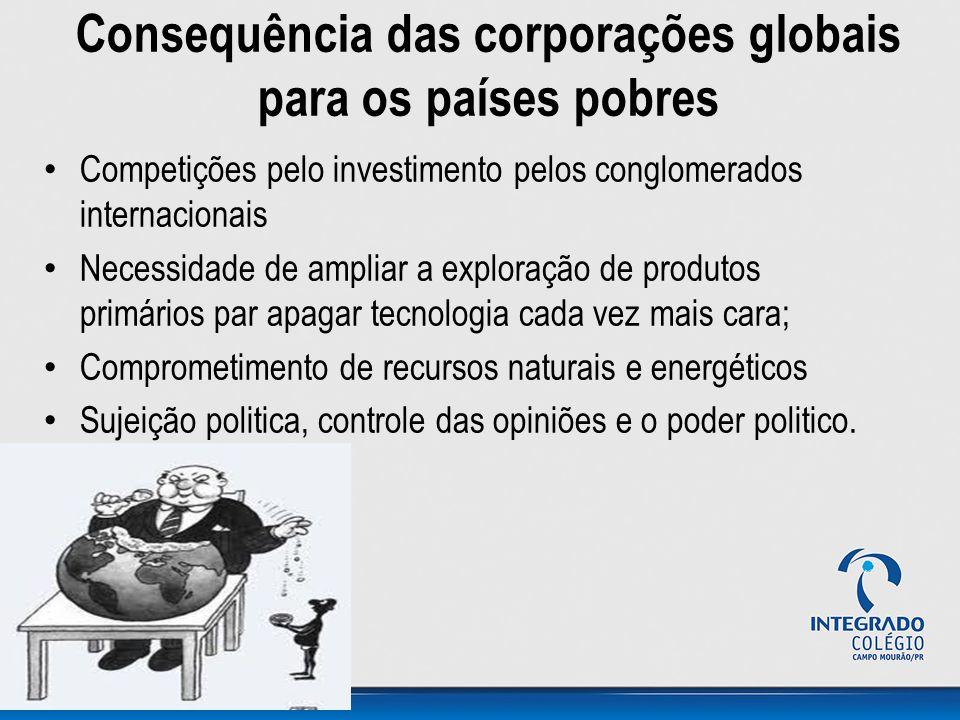 Consequência das corporações globais para os países pobres Competições pelo investimento pelos conglomerados internacionais Necessidade de ampliar a e