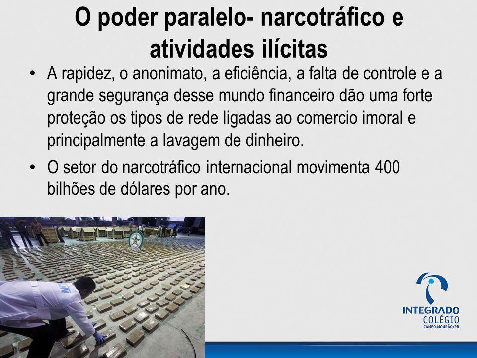 O poder paralelo- narcotráfico e atividades ilícitas A rapidez, o anonimato, a eficiência, a falta de controle e a grande segurança desse mundo financ