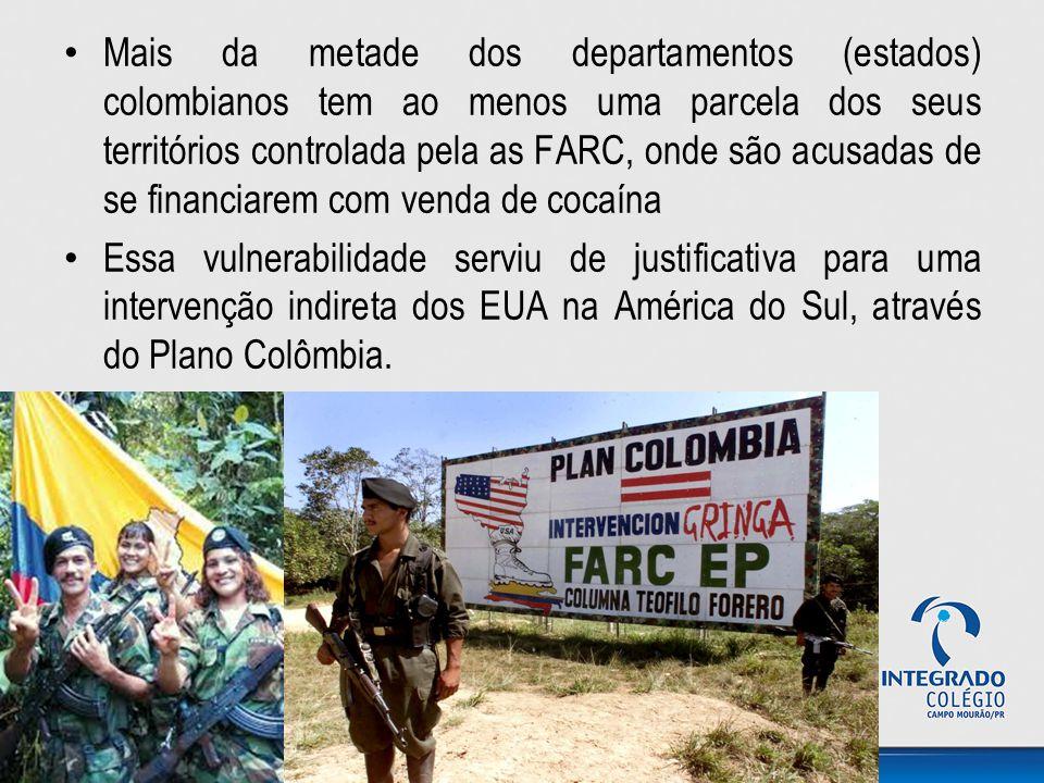 Mais da metade dos departamentos (estados) colombianos tem ao menos uma parcela dos seus territórios controlada pela as FARC, onde são acusadas de se