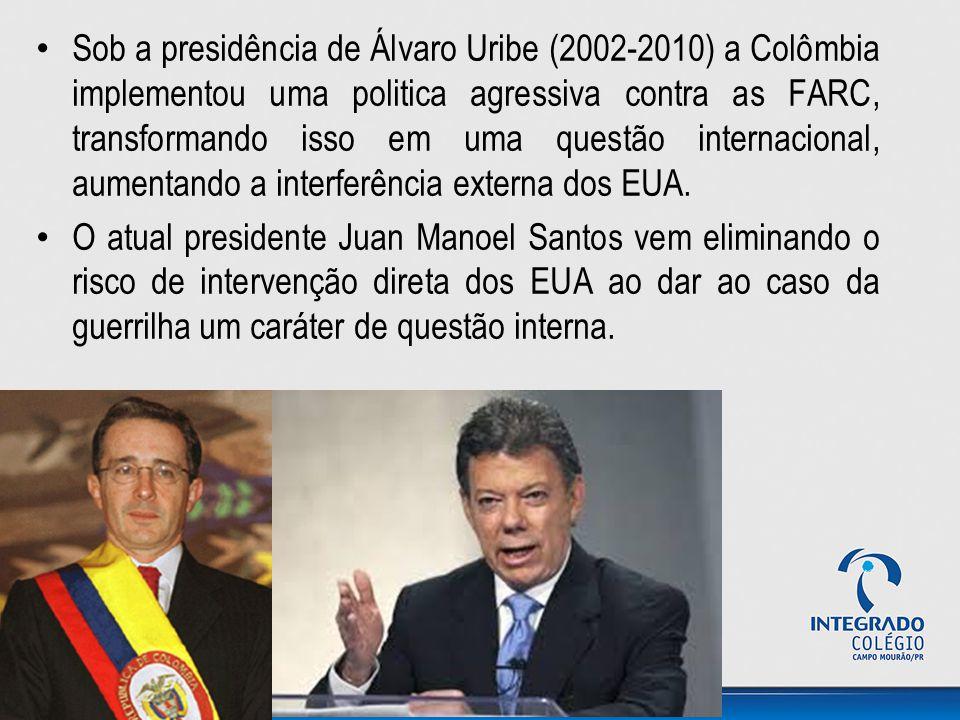 Sob a presidência de Álvaro Uribe (2002-2010) a Colômbia implementou uma politica agressiva contra as FARC, transformando isso em uma questão internac