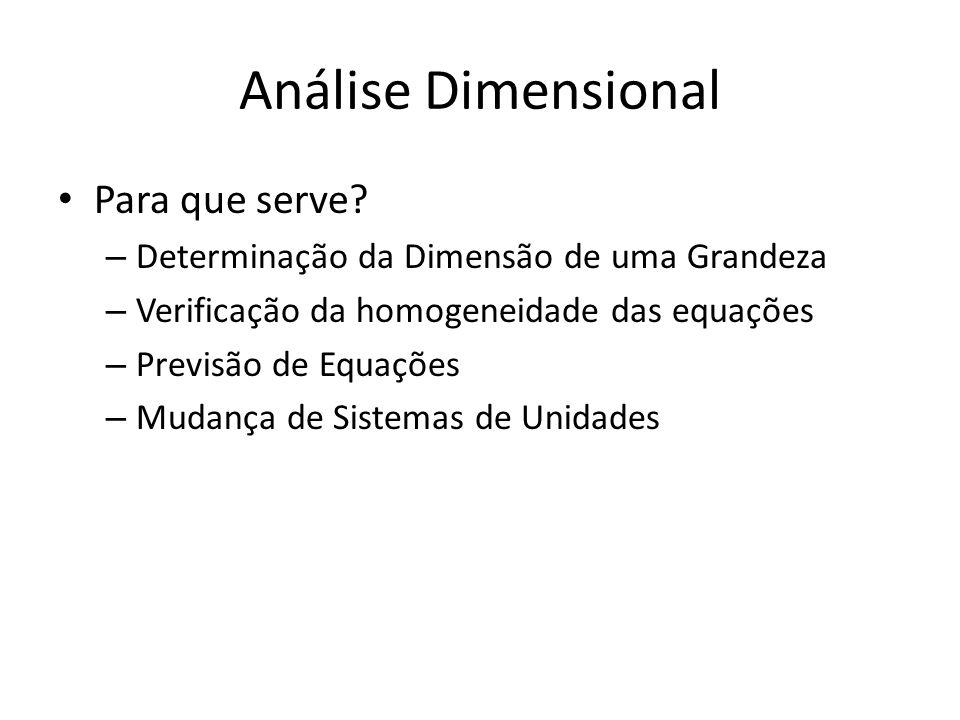 Análise Dimensional Para que serve? – Determinação da Dimensão de uma Grandeza – Verificação da homogeneidade das equações – Previsão de Equações – Mu