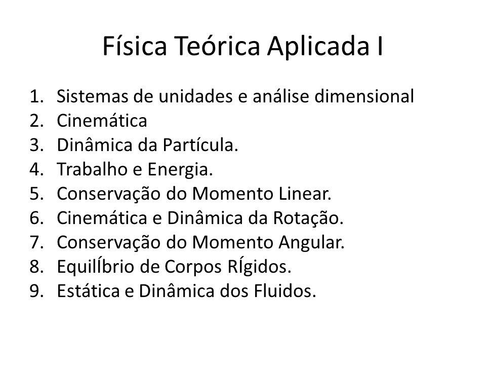 Física Teórica Aplicada I 1.Sistemas de unidades e análise dimensional 2.Cinemática 3.Dinâmica da Partícula. 4.Trabalho e Energia. 5.Conservação do Mo