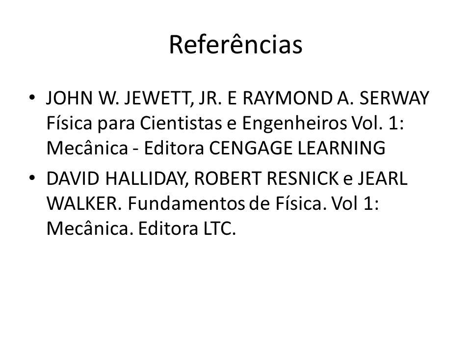Referências JOHN W. JEWETT, JR. E RAYMOND A. SERWAY Física para Cientistas e Engenheiros Vol. 1: Mecânica - Editora CENGAGE LEARNING DAVID HALLIDAY, R