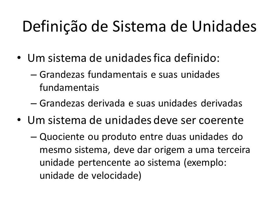 Definição de Sistema de Unidades Um sistema de unidades fica definido: – Grandezas fundamentais e suas unidades fundamentais – Grandezas derivada e su