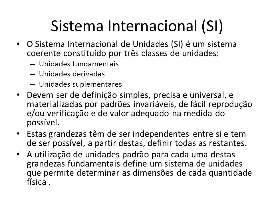 Sistema Internacional (SI) O Sistema Internacional de Unidades (SI) é um sistema coerente constituído por três classes de unidades: – Unidades fundame