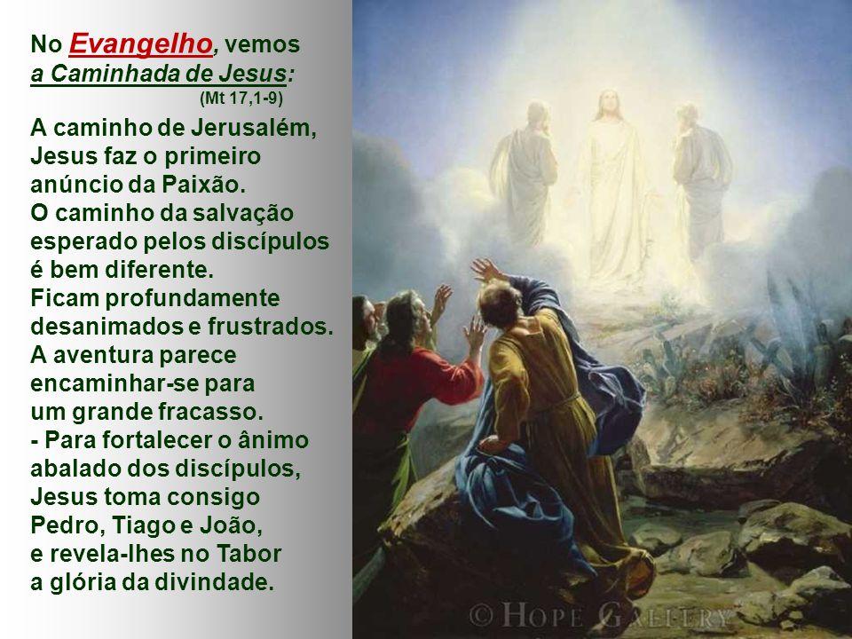 No Evangelho, vemos a Caminhada de Jesus: (Mt 17,1-9) A caminho de Jerusalém, Jesus faz o primeiro anúncio da Paixão.